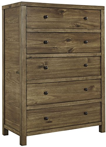 Ashley Fennison Collection B544 45 35  5 Drawer Youth Chest With Acacia Solids And Veneers Construction Round Knobs And Wood Grain Details In Light