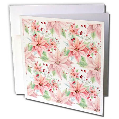 3dRose Anne Marie Baugh - Christmas - Pretty Watercolor Poinsettia Flowers Pattern - 1 Greeting Card with envelope (gc_266572_5) -