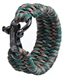 The Friendly Swede Extra Long XXL Trilobite Extra Beefy / Wide 500 lb Paracord Survival Bracelet With Stainless Steel Black Bow Shackle - Adjustable Size Fits 8.5-9.5 Inch Wrists - in Retail Packaging (Woodland Camo)