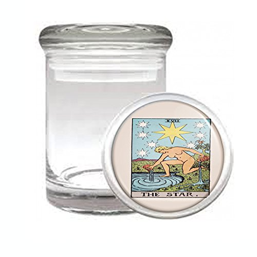 "Medical Glass Stash Jar Tarot Card The Star S19 Air Tight Lid 3"" x 2"" Small Storage Herbs & Spices"