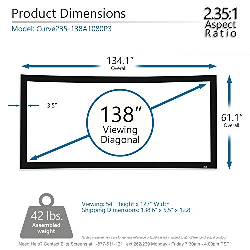 Elite Screens Lunette Series, 138-inch Diagonal 2.35:1, Sound Transparent Perforated Weave Curved Home Theater Fixed Frame Projector Screen, CURVE235-138A1080P3 للبيع