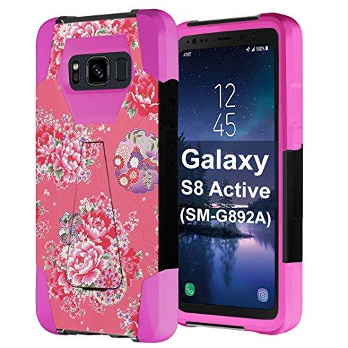 Black Case Dahlia (Galaxy S8 Active Case, Capsule-Case Hybrid Fusion Dual Layer Shockproof Combat Kickstand Case for Samsung Galaxy S8 Active SM-G892A Black and Pink - (Coral Dahlia))