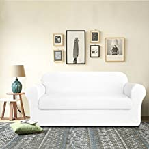 DyFun 2-Piece Knit Spandex Stretchable Protector Dining Room Sofa Slipcovers (Loveseat, White)