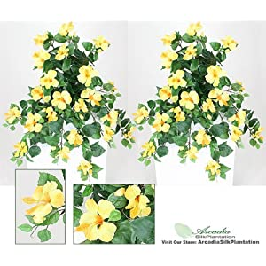 Arcadia Silk Plantation 29″ Artificial Hibiscus Hanging Flower Bushes, with No Pot, (Pack of 2)