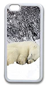 iphone 6 4.7inch Case and Cover Polar Bear Sleeping In The Snow TPU Silicone Rubber Case Cover for iphone 6 4.7inch White