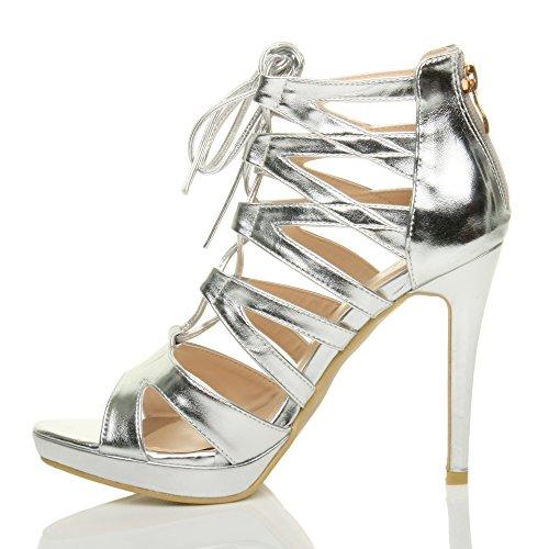 Damen Hoher Absatz Plateau Schnüren Reimchen Peep Toe Sandalen Pump Schuhe Größe Silbermetallic