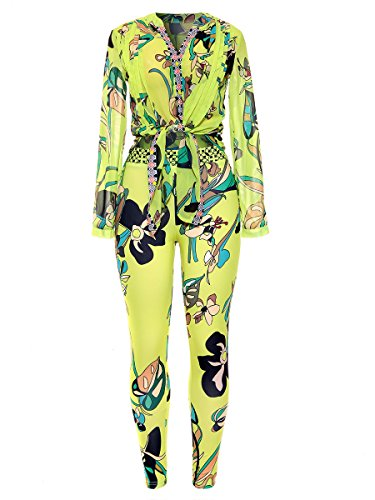2 Piece Outfits for Women Floral Print Long Sleeve Chiffon Blouse + Bodycon Stretch Long Pants Yellow, Large