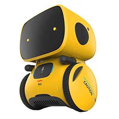 YINGTESI STEM Smart Robot Toys,Education Interactive Toys with Voice Command,Touch Control,Music and Sound Robotics,Voice Record and Repeat,Gifts for Boys and Girls Age 3 4 5 6 (Yellow): Toys & Games [5Bkhe1101377]
