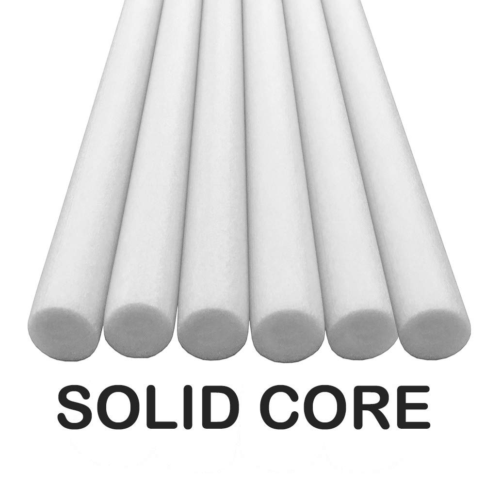 Oodles Solid Core Deluxe Foam Pool Swim Noodles Five Foot Length- 6 Pack White by Oodles of Noodles