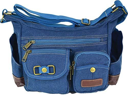 - Eurosport Bright Blue Denim Purse Canvas Messenger Bag B420 Multi Pockets Adjustable Strap