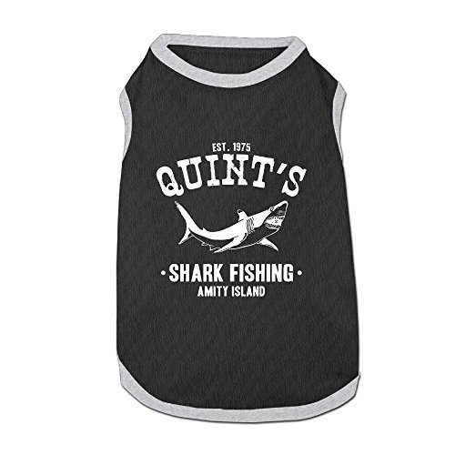 Dog T-Shirt Clothes Quints Shark Fishing Doggy Puppy Tank Top Pet Cat Coats Outfit Jumpsuit -