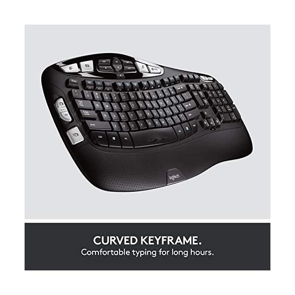 Logitech MK550 Wireless Wave Keyboard and Mouse Combo - Includes Keyboard and Mouse, Long Battery Life, Ergonomic Wave…