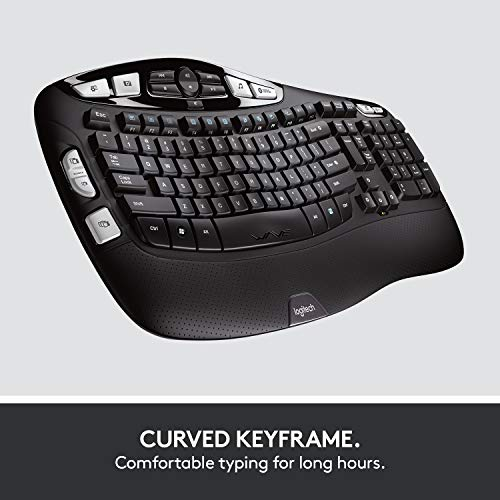 Logitech MK550 Wireless Wave Keyboard and Mouse Combo - Includes Keyboard and Mouse, Long Battery Life, Ergonomic Wave Design