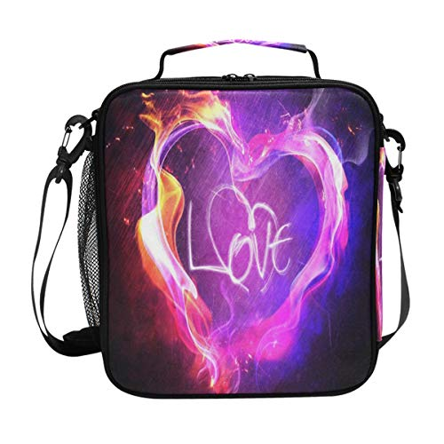 (Two-Tone Flame Love Lunch Bag Womens Insulated Lunch Tote Containers Zipper Square Lunch Box for Kids Men Adults Boys Girls)