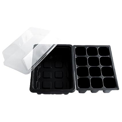 5 unids 12 Célula de Propagación Negro Bandeja Maceta Plug Kit de Plantas Macetas de Vivero