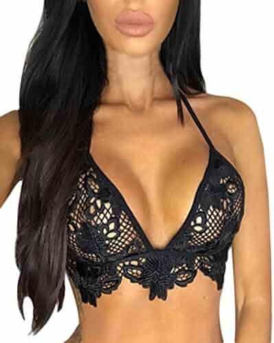 cdc07632d78 Lowprofile Women s Lingerie Hollow Lace Halter Bralette Unpadded Bra  Bustier Crop Top