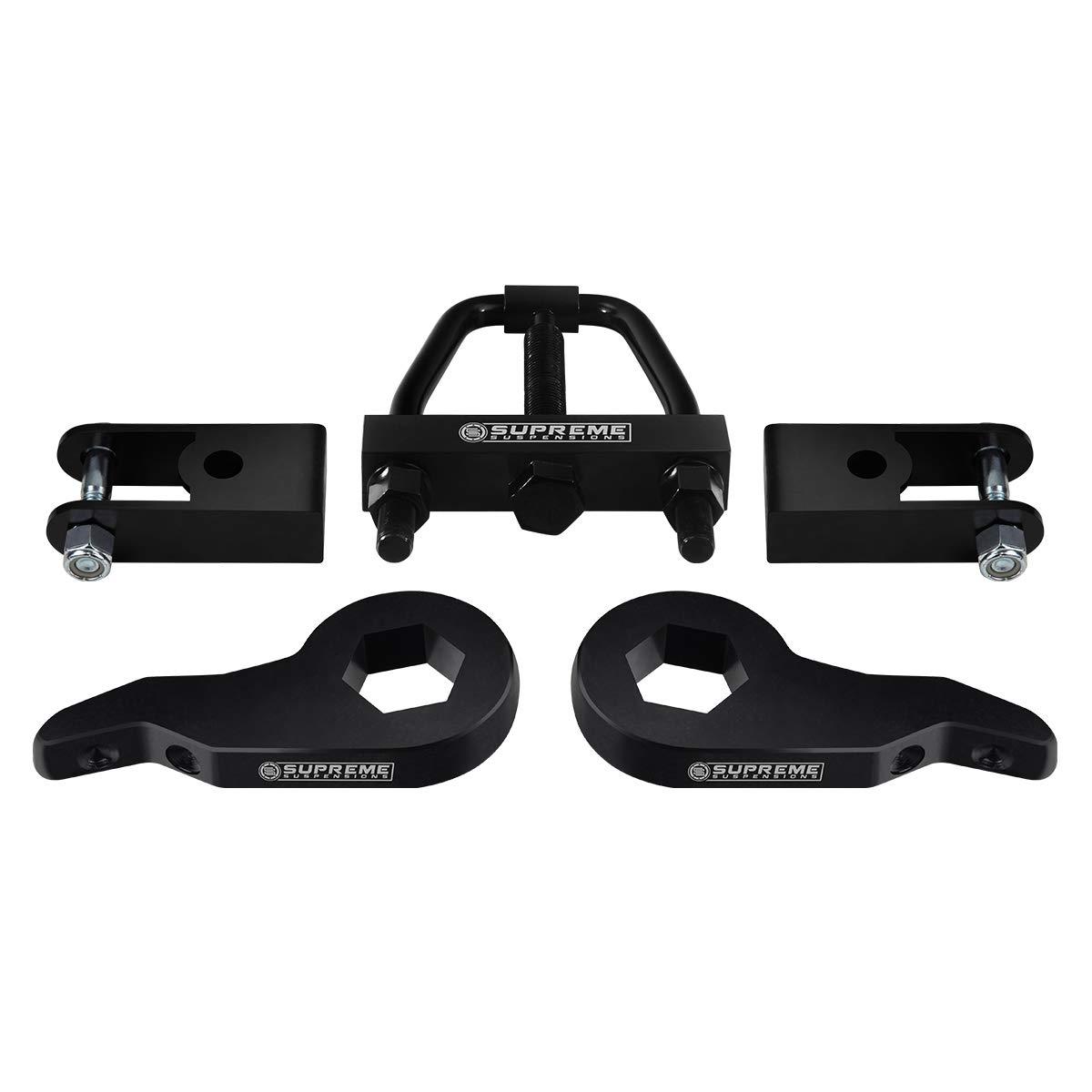 """Supreme Suspensions - Front Leveling Kit for 2000-2007 Chevrolet Silverado and GMC Sierra 1500 Adjustable 1"""" to 3"""" Lift Torsion Keys + Shock Extenders + Torsion Bar Puller 6-Lug 4WD"""