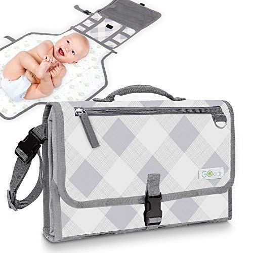 Gokidi Portable Baby Changing Pad - Diaper Bag Clutch Unfolds to Diaper Change Station - Detachable Waterproof Mat - Wipes Clean, Non-Slip Straps, Pockets for Wipes and Accessories - Plaid