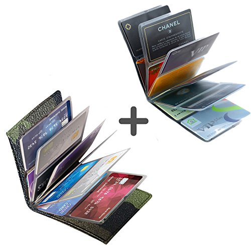 Napal Swiss Top Genuine Leather Amazing RFID Security Credit Card Case Holder Magic Slim Back Pocket Wallet for Men or Women