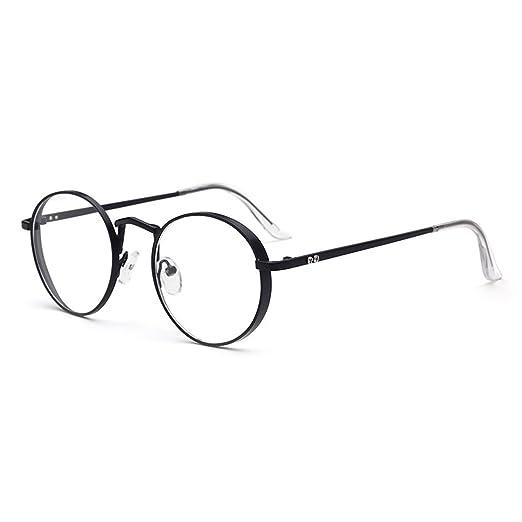 27b7f6f29 D.King Oversized Metal Frame Clear Lens Round Prescription Eyeglasses  Frames Black