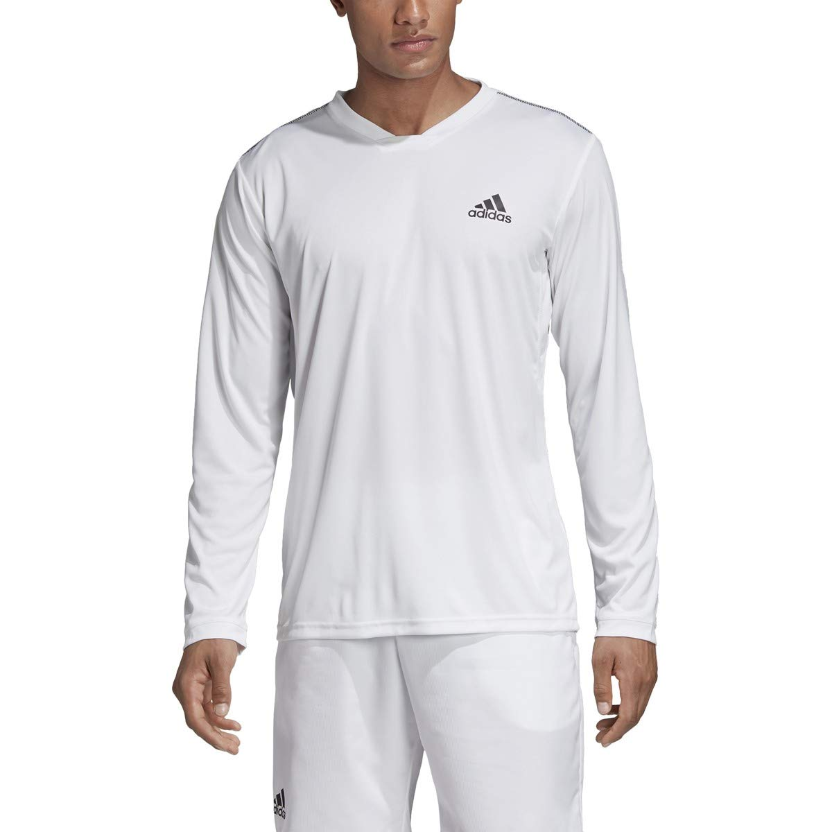 adidas Uv Protect Long-Sleeve Tennis Tee, White/Black, X-Small