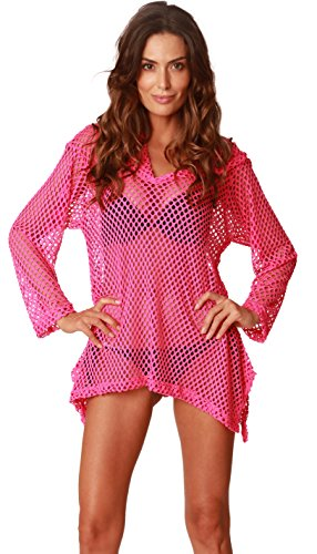 Ingear Mesh Cover Up Swimsuit Summer Swimwear Knit Crochet Hoodie Beachwear (Small, Fuchsia)