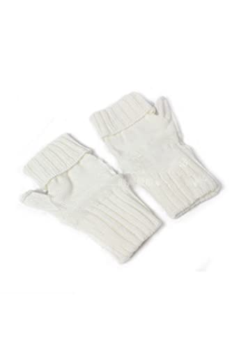 Le Donne L'inverno A Guanti Senza Dita Thumbhole Breve Braccio Più Caldo White One Size