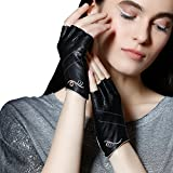 Fioretto Womens Sexy Fingerless Leather Gloves Half Finger Driving Motorcycle Cycling Unlined Ladies Leather Gloves Women's Gift Black M