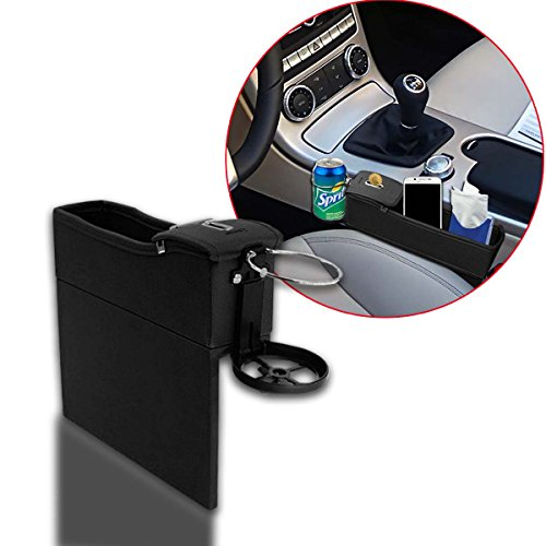 Zento Deals Driver Side Super Handy Black Car Console Seat Side Coin Holder Cup Holder Storage Organizer –Cellphone, Wallet, Keys and the likes Holder Closer to your Body Box - Sunglasses Canada Fox