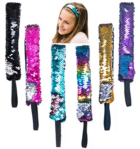 Sequin Hair Band - 6 PCS Reversible Sequins Headbands for Girls and Women - Non Slip Mermaid Style Flip Sequin Wide Headband Set with Elastic Cord - Fashion Hair Accessories - Great Party Favors