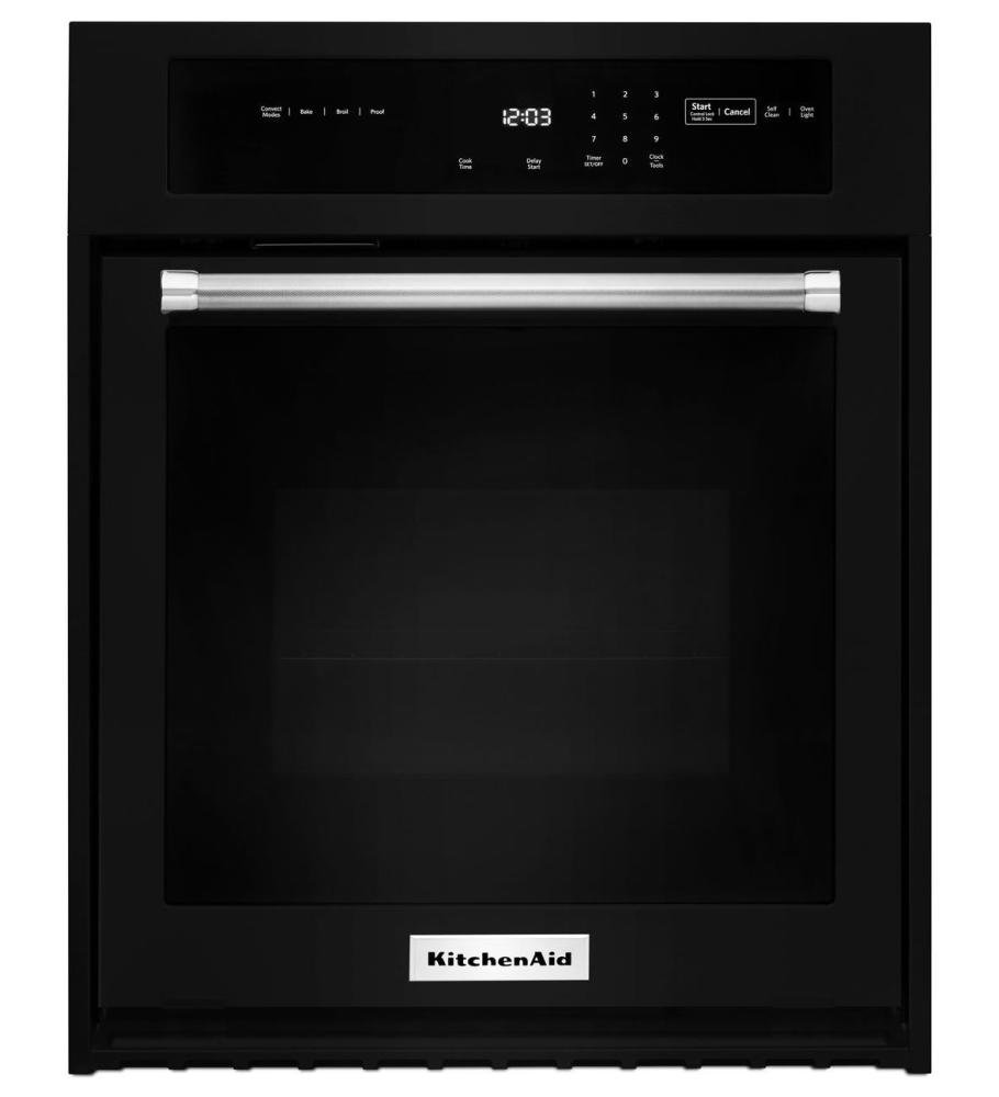 KitchenAid KOSE500EBL 30 Inch Single Electric Wall Oven with 5.0 cu. ft. Even-Heat True Convection Oven, Self-Clean, Preheat, Temperature Conversion, Temperature Probe and Roll-Out Rack