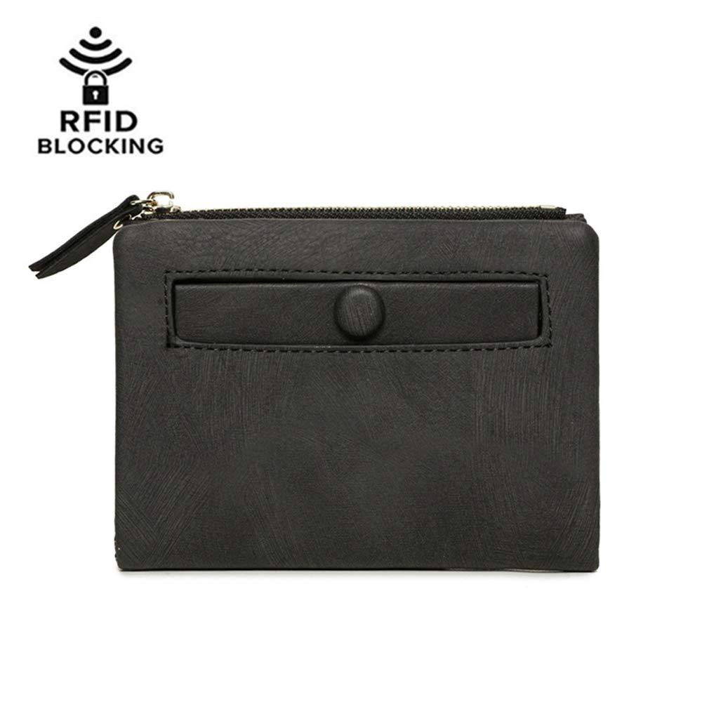 Women RFID Blocking PU Leather Small Bifold Wallet Card Holder Zipper Coin Purse (Black)