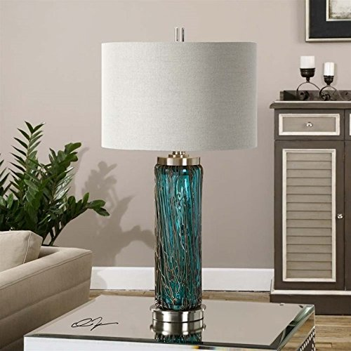 Table Lamp in Blue Glass Finish