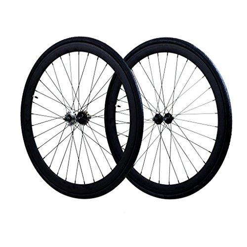 Fixie Wheels Set Fixed Gear Flip Flop Rear Wheels 45mm with Kenda Tires 25C, Matte Black
