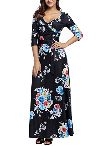 AlvaQ XXL Neck Maxi 2 S Tie Waist Women V Floral Dress 10 Black Wrap Floral Printed qC1wBrq