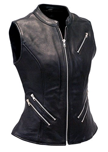 - VearFit Women Zaverious Zipper VestCoat Genuine Leather Vest Black