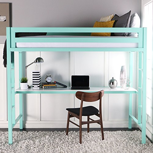 WE Furniture Premium Twin Metal Loft Bed With Workstation, Mint
