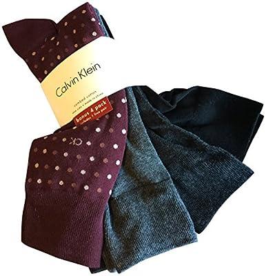 Calvin Klein Men's Dress Socks Cotton 4 Pack Burgundy Grey Black