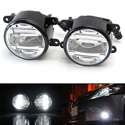 (iJDMTOY OEM Spec 15W Xenon White LED Projector Fog Lights For Acura Honda Ford Nissan Infiniti Subaru etc. Powered by 3 Pieces High Power 5W CREE XB-D LED Emitters)