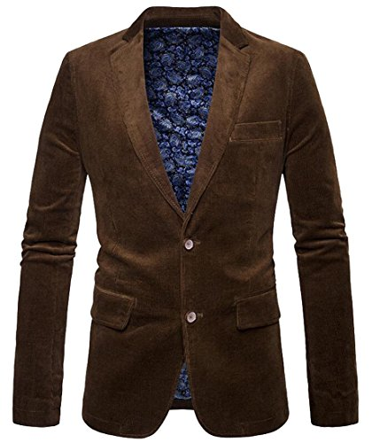 SYTX Mens Vintage 2 Buttons Solid Color Corduroy Blazer Suit Jacket Coat Outerwear Brown (Two Button Vintage Blazer)