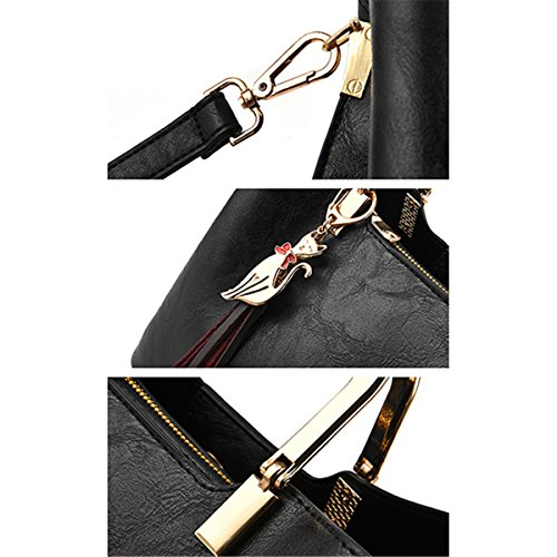 Satchel Bags Shoulder Tote Handle Bags Crossbody Leather Women's Handbags JOSEKO Black PU Top Bag pqRztnx8