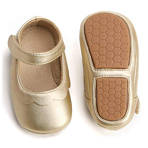 Bear Mall Baby Girl Shoes Soft Sole Toddler Ballet Flats Baby Walking Shoes (13.5 cm(18M-2Y), Golden) (Gold Shoes Toddler)