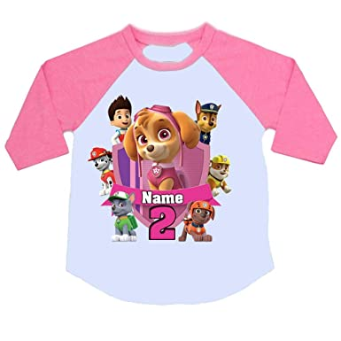 45d921d7a Sprinklecart Personalized Name Printed Raglan Full Sleeve Tee for Kids |  Paw Patrol Image Printed Birthday