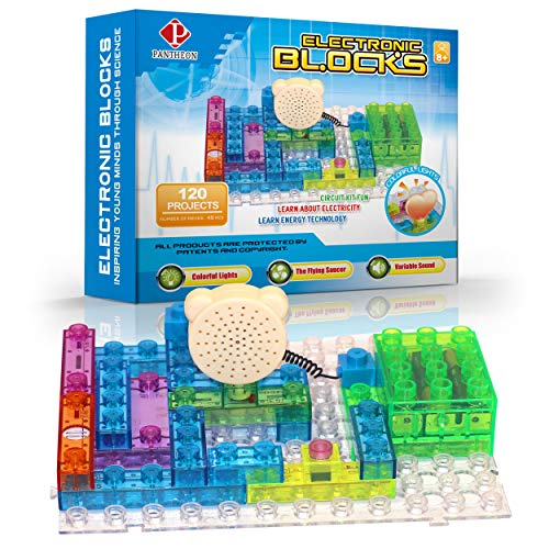 - PANTHEON Circuit Kit with Lighted Bricks (44pcs), 120 Different Projects in 1, Educational Toy