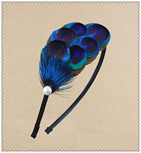 Leiothrix Elegant Peacock Feather Hair Accessories Hair Band with Pearl for Women & Girls Apply to Party Birthday Weding Photograph (Hair For Kids Feathers)