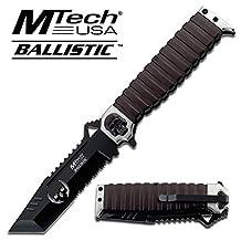 MTech Ballistic - Folding Knife Couteau de poche pliant Fast-open Tactical Action Skull - Clip ceinture # MT-A820S