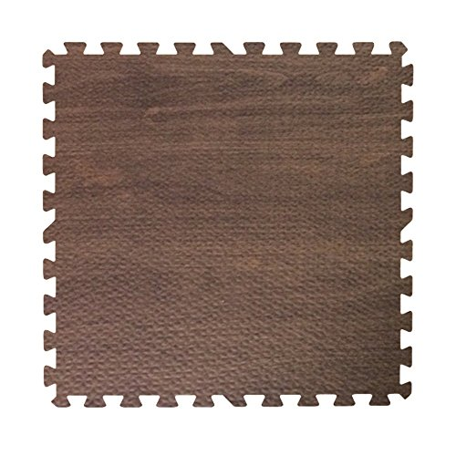 Get Rung Walnut Woodgrain Fitness Mat with Interlocking Foam Tiles for Gym Flooring. Excellent for Pilates, Yoga, Aerobic Cardio Work Outs and Kids Playrooms. Perfect Exercise Mat(WOOD, 216SQFT)