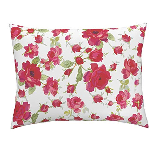 Red Floral Standard Knife Edge Pillow Sham Cottage Chic Vintage Red Florals Red Flowers Roses Botanical Vintage Florals Floral Vintage by Lilyoake 100% Cotton - Sham Christina Standard