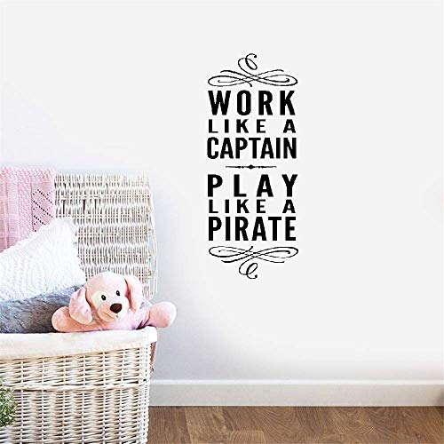 Vinyl Wall Decals Quotes Sayings Words Art Deco Lettering Inspirational Nursery Kid Bedroom Work Like A Captain Play Like A Pirate for Office]()