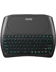 Aerb Mini Kabellose Beleuchtete Tastatur Touchpad-Maus Combo, 2.4 GHz Wireless Tastatur Wiederaufladbare Fernbedienung für Android TV Box, HTPC, Xbox, Smart TV, Laptop/PC